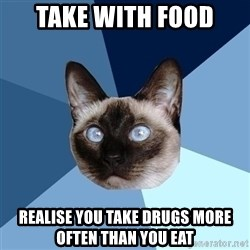 Chronic Illness Cat - Take with food realise you take drugs more often than you eat