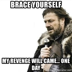 Prepare yourself - Brace Yourself My revenge will came... one day