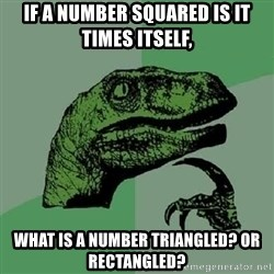 Philosoraptor - if a number squared is it times itself, what is a number triangled? or rectangled?