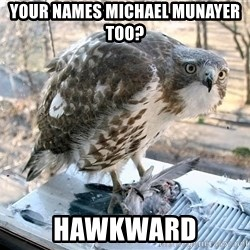 Hawkward - your names michael munayer too? hawkward