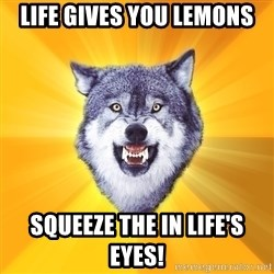 Courage Wolf - life gives you lemons squeeze the in life's eyes!