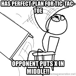 Desk Flip Rage Guy - has perfect plan for tic-tac-toe opponent puts x in middle!!