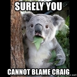 Koala can't believe it - Surely you  cannot blame craig