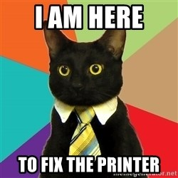 Business Cat - i am here  to fix the printer