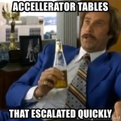That escalated quickly-Ron Burgundy - Accellerator tables That escalated quickly