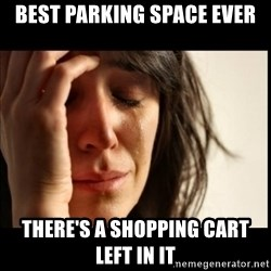 First World Problems - best parking space ever there's a shopping cart left in it