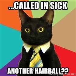 Business Cat - ...called in sick Another hairball??
