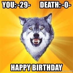Courage Wolf - You: -29-       Death: -0- Happy Birthday