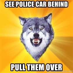 Courage Wolf - See police car behind pull them over