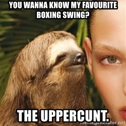 The Rape Sloth - You wanna know my favourite boxing swing?  The uppercunt.