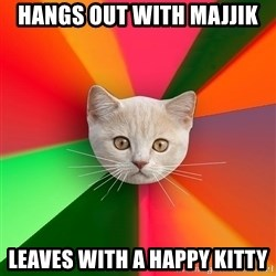Advice Cat - hangs out with majjik leaves with a happy kitty
