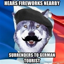 Monsieur Le Courage Wolf - Hears fireworks nearby surrenders to german tourist