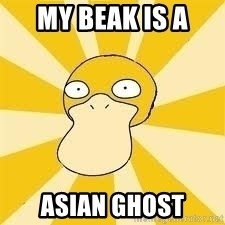 Conspiracy Psyduck - MY BEAK IS A  ASIAN GHOST