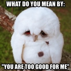 "Sad Owl Baby - what do you mean by: ""You are too good for me"""