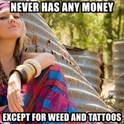 Young Hippy - never has any money except for weed and tattoos