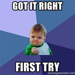 Success Kid - Got it right first try