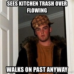Scumbag Steve - sees kitchen trash over flowing walks on past anyway