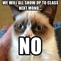 Grumpy Cat  - We will all show up to class next mOnd.... No