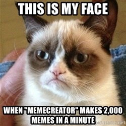 """Grumpy Cat  - this is my face when """"memecreator"""" makes 2,000 memes in a minute"""