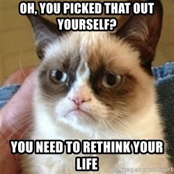 Grumpy Cat  - oh, you picked that out yourself? you need to rethink your life