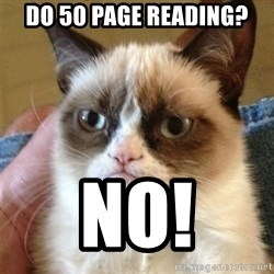 Grumpy Cat  - Do 50 page reading? No!