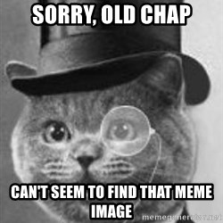 Monocle Cat - Sorry, old Chap Can't Seem to find that meme image