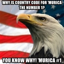 MURICA EAGLE - Why is country code for 'murica the number 1? You know why! 'Murica #1