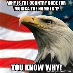 MURICA EAGLE - why is the country code for 'murica the number 1? you know why!
