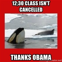Thanks Obama! - 12;30 class isn't cancelled thanks obama