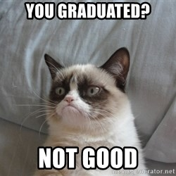 Grumpy cat 5 - you graduated? Not good