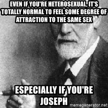 Sigmund Freud - Even if you're heterosexual, it's totally normal to feel some degree of attraction to the same sex especially if you're Joseph