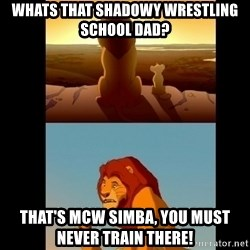 Lion King Shadowy Place - whats that shadowy wrestling school dad? THAT'S mcw simba, you must never train there!
