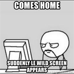 computer meme - comes home suddenly le wild screen appears