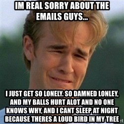 90s Problems - Im real sorry about the emails guys... I just get so lonely. So damned lonley, and my balls hurt alot and no one knows why, and i cant sleep at night because theres a loud bird in my tree