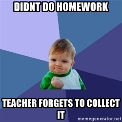 Success Kid - Didnt do homework teacher forgets to collect it