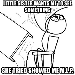 Desk Flip Rage Guy - little sister wants me to see something she tried showed me m.l.p.
