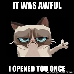 Grumpy cat pointing - IT WAS AWFUL I OPENED YOU ONCE