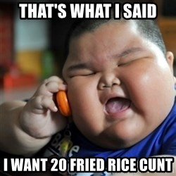 fat chinese kid - THAT'S WHAT I SAID I WANT 20 FRIED RICE CUNT