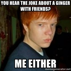 Flame_haired_Poser - YOU HEAR THE JOKE ABOUT A GINGER WITH FRIENDS? ME EITHER