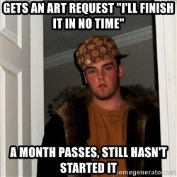 """Scumbag Steve - Gets an art request """"i'll finish it in no time"""" a month passes, still hasn't started it"""