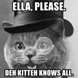 Monocle Cat - Ella, please. deh kitteh knows all.