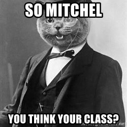 Monocle Cat - So mitchel you think your class?