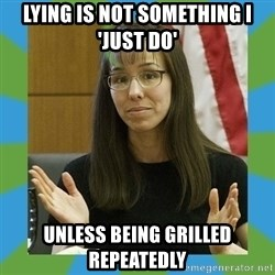 Jodi Arias bigger - Lying is not something I 'just do' unless being grilled repeatedly