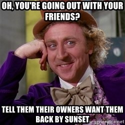 Willy Wonka - oh, you're going out with your friends? tell them their owners want them back by sunset
