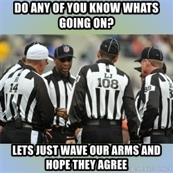 NFL Ref Meeting - do any of you know whats going on?  lets just wave our arms and hope they agree