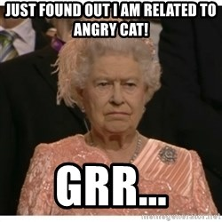 Unimpressed Queen - Just found out i am related to angry cat! grr...