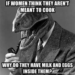 Philosoraptor - If women think they aren't meant to cook Why do they have milk and eggs inside them?