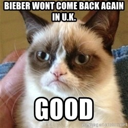 Grumpy Cat  - bieber wont come back again in U.K. Good