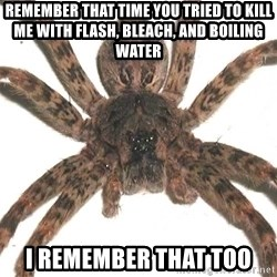 Spider - Remember that time you tried to kill me with flash, bleach, and boiling water I remember that too