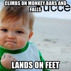 success baby - climbs on monkey bars and falls lands on feet